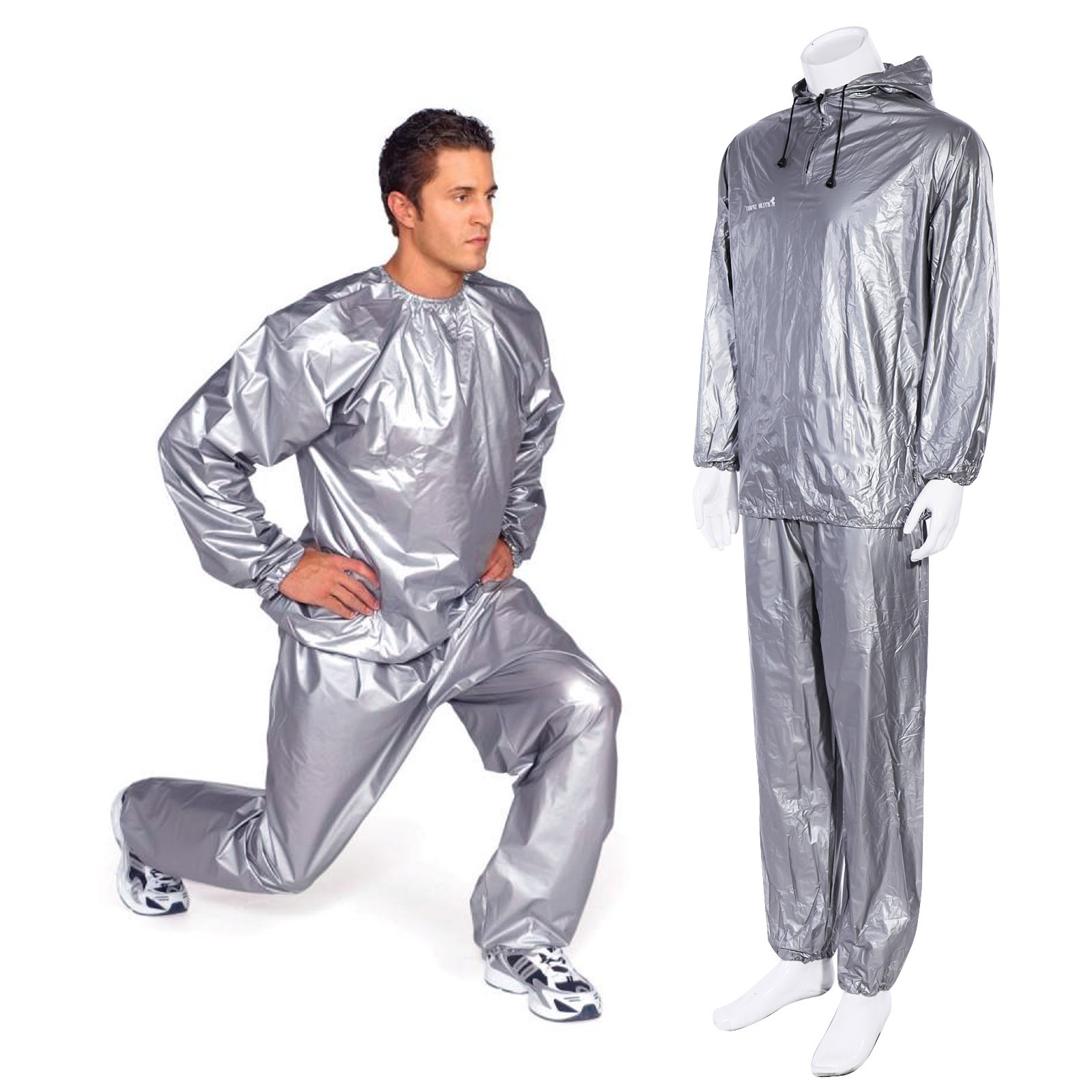 Silver Sauna Sweat Suit Hoodie Neck to Ankle For Weight ...