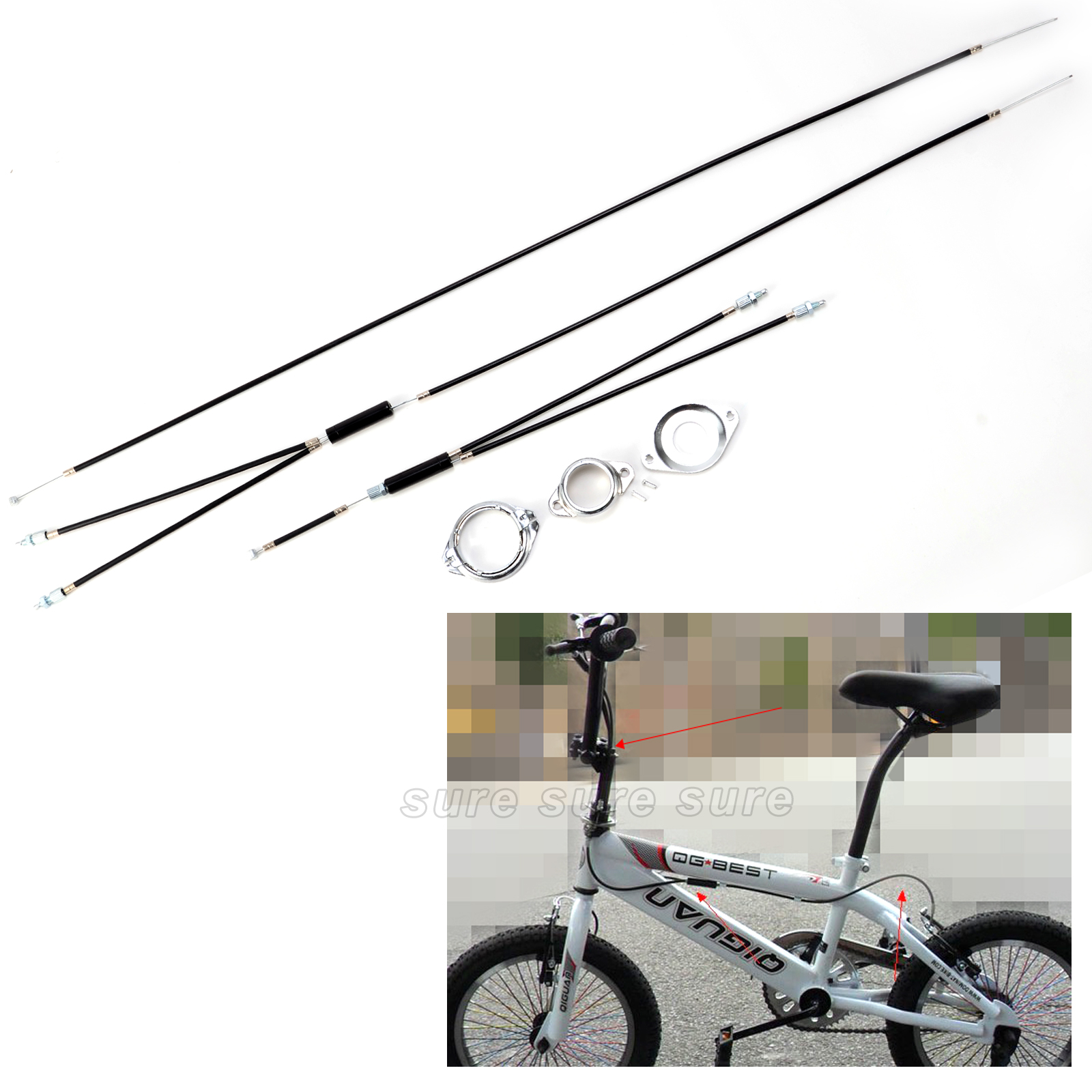 Rear COMPLETE SET Spinner Rotor BMX Gyro Brake Cables Upper + Lower Front