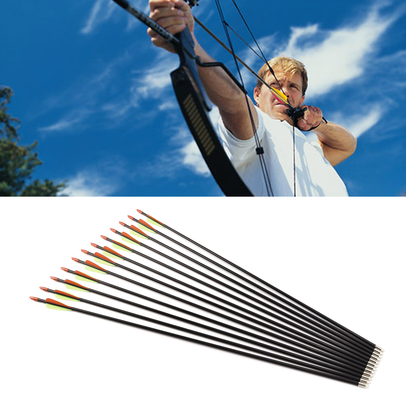 Archery Fiberglass Arrows Archery Arrows 12pcs Recurve Archery 28//30//32 inches