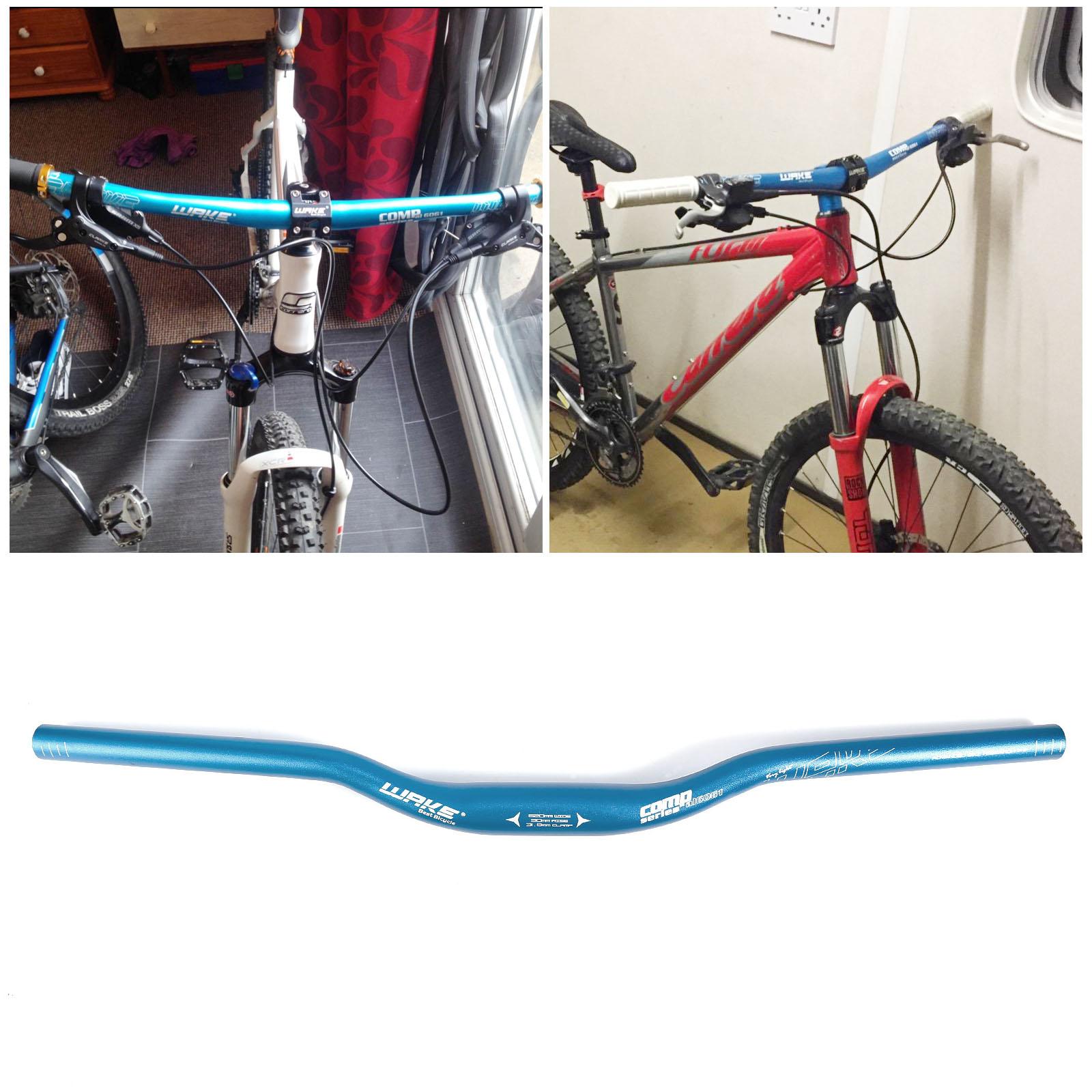 Road XC Bike Blue MTB Aluminum Flat Riser Bar Handlebar 62cm 5//7//15° stem set