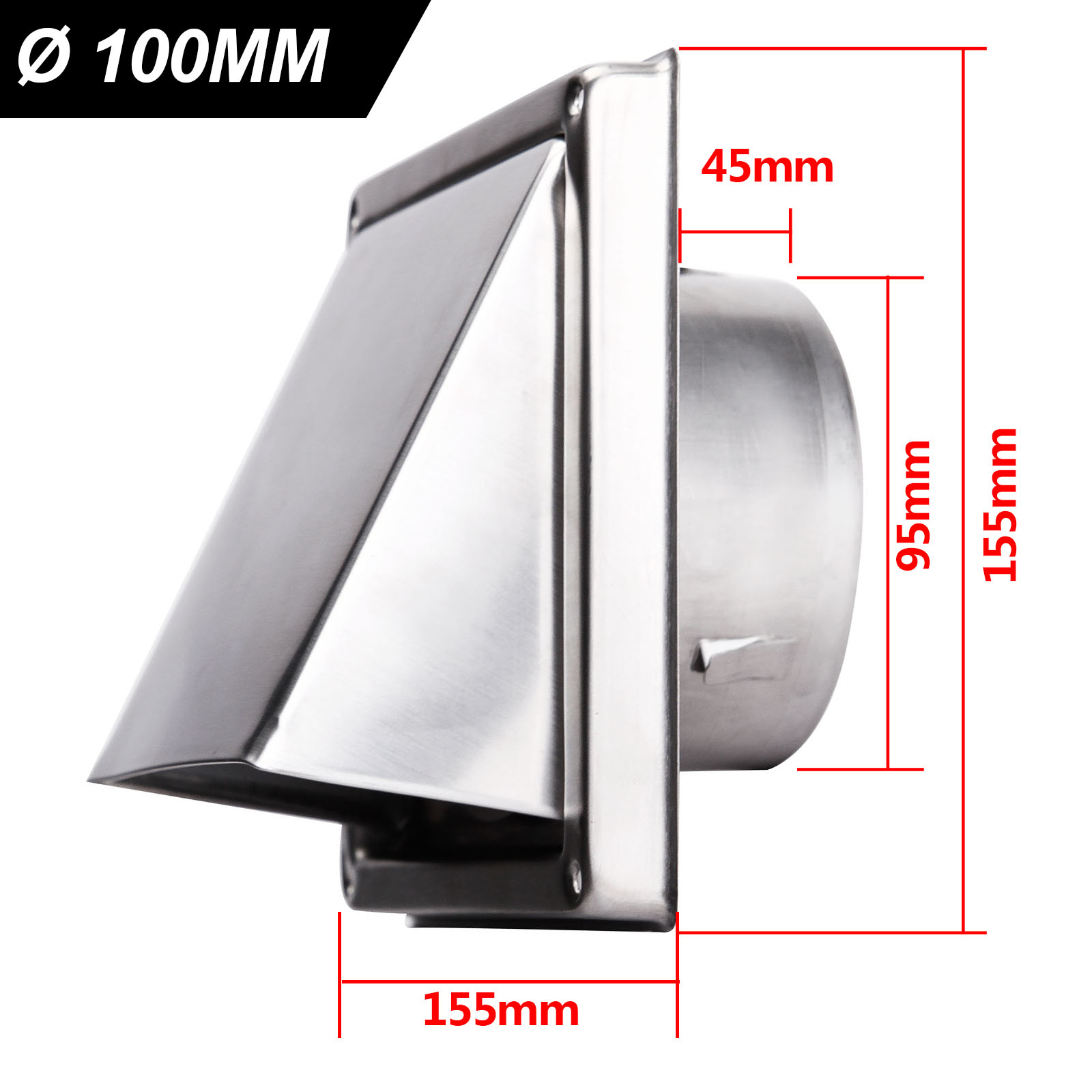 Exhaust Air Wall Box Wall Outlet 100 125 150 mm Stainless Steel Self Closing