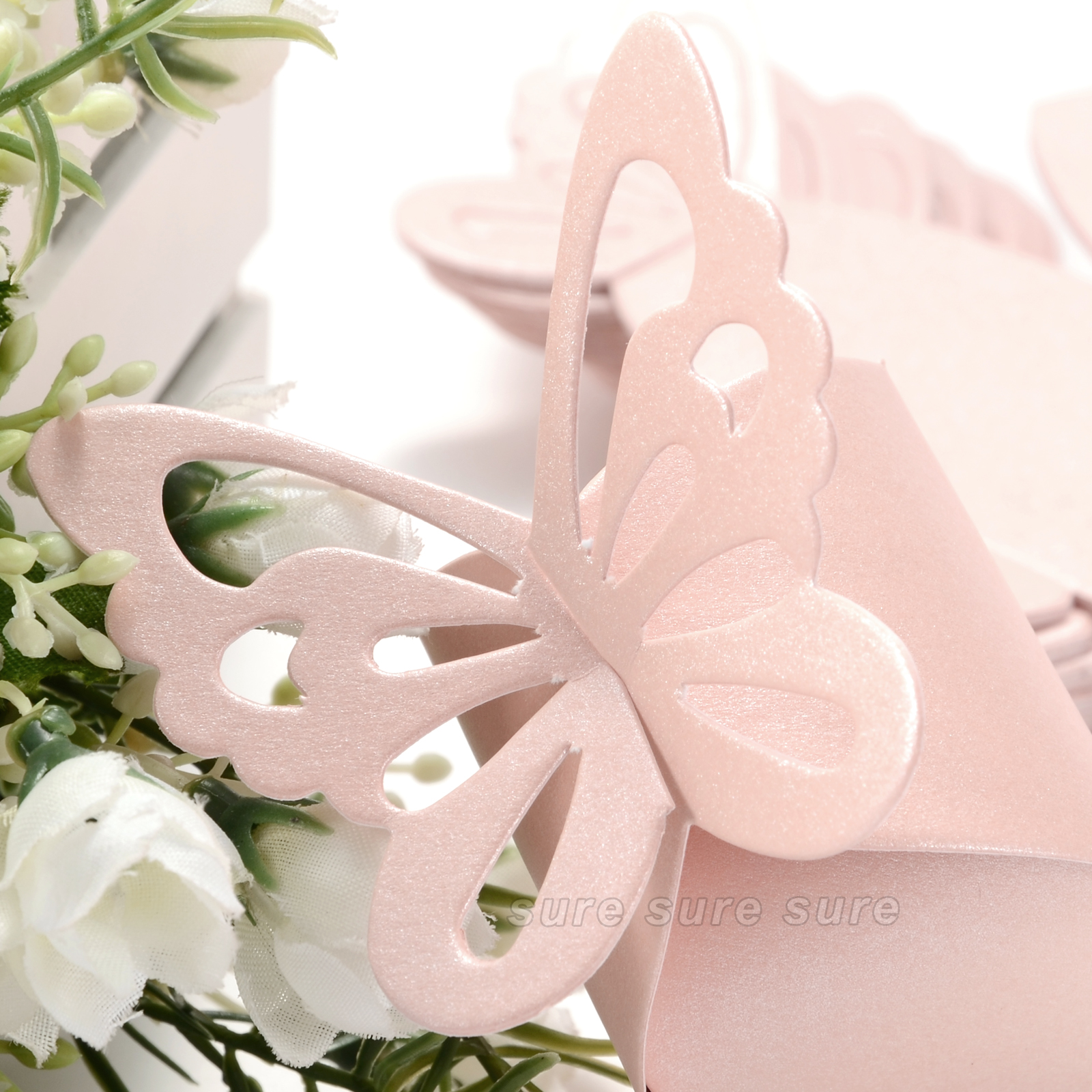50 Pcs Butterfly Party Wedding Favor Gift Candy Bomboniere Boxes