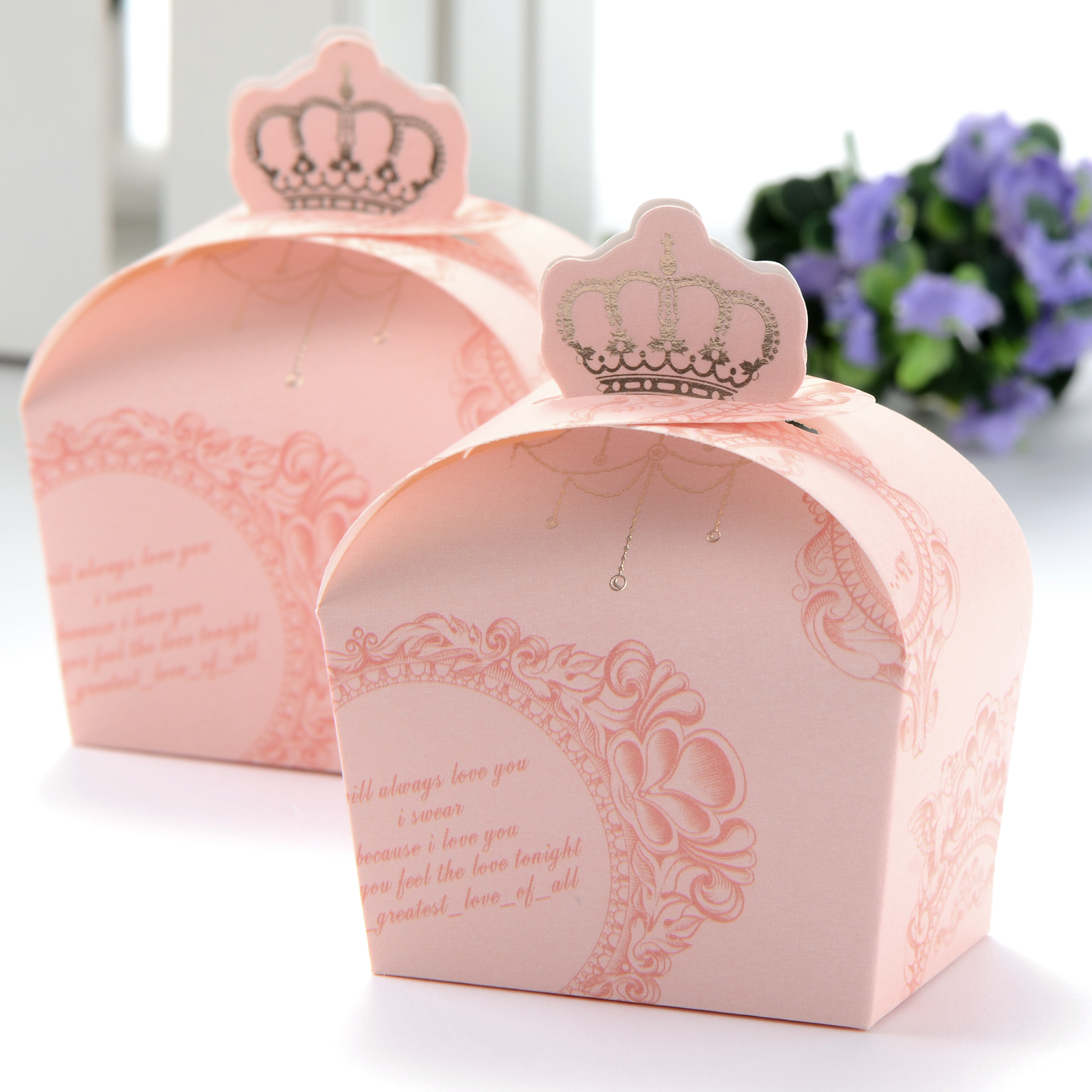 50pcs Wedding Favour Candy Boxes Gift Box Crown Style Pink / Green ...