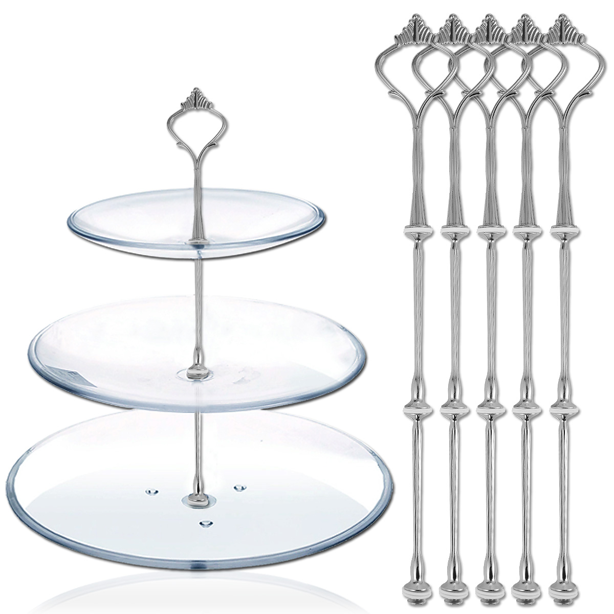 3 Silver 3 Tier Wedding Cake Plate Stand Fittings Metal Cake Plate Stands