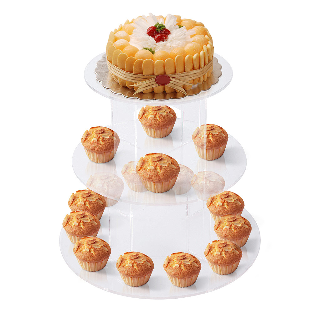 3 Tier Cupcake Cup Cake Stand Display Round Clear Acrylic Wedding ...