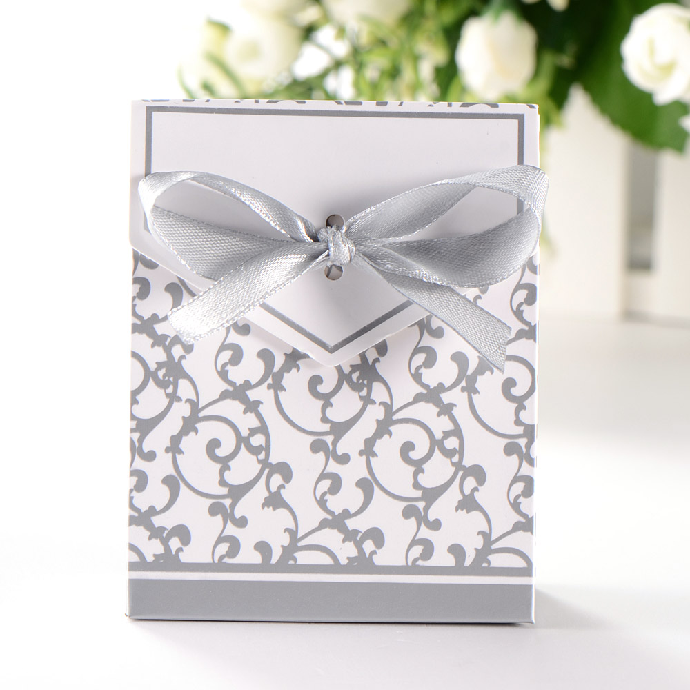 50pcs Candy Boxes With Ribbon Wedding Party Gift Favor Box Silver ...
