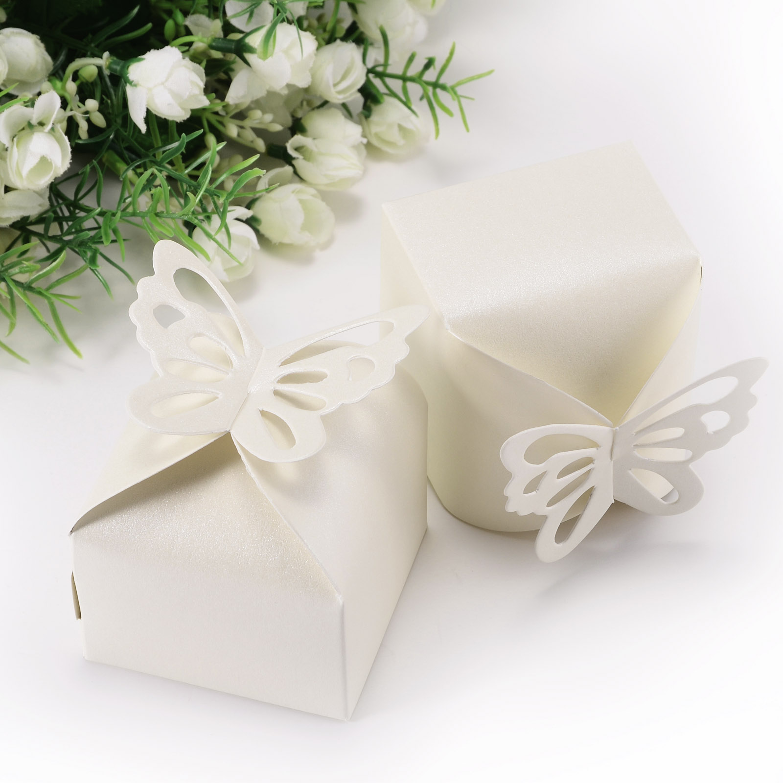 50pcs Butterfly Top Gift Candy Bomboniere Boxes Wedding Party Favor ...