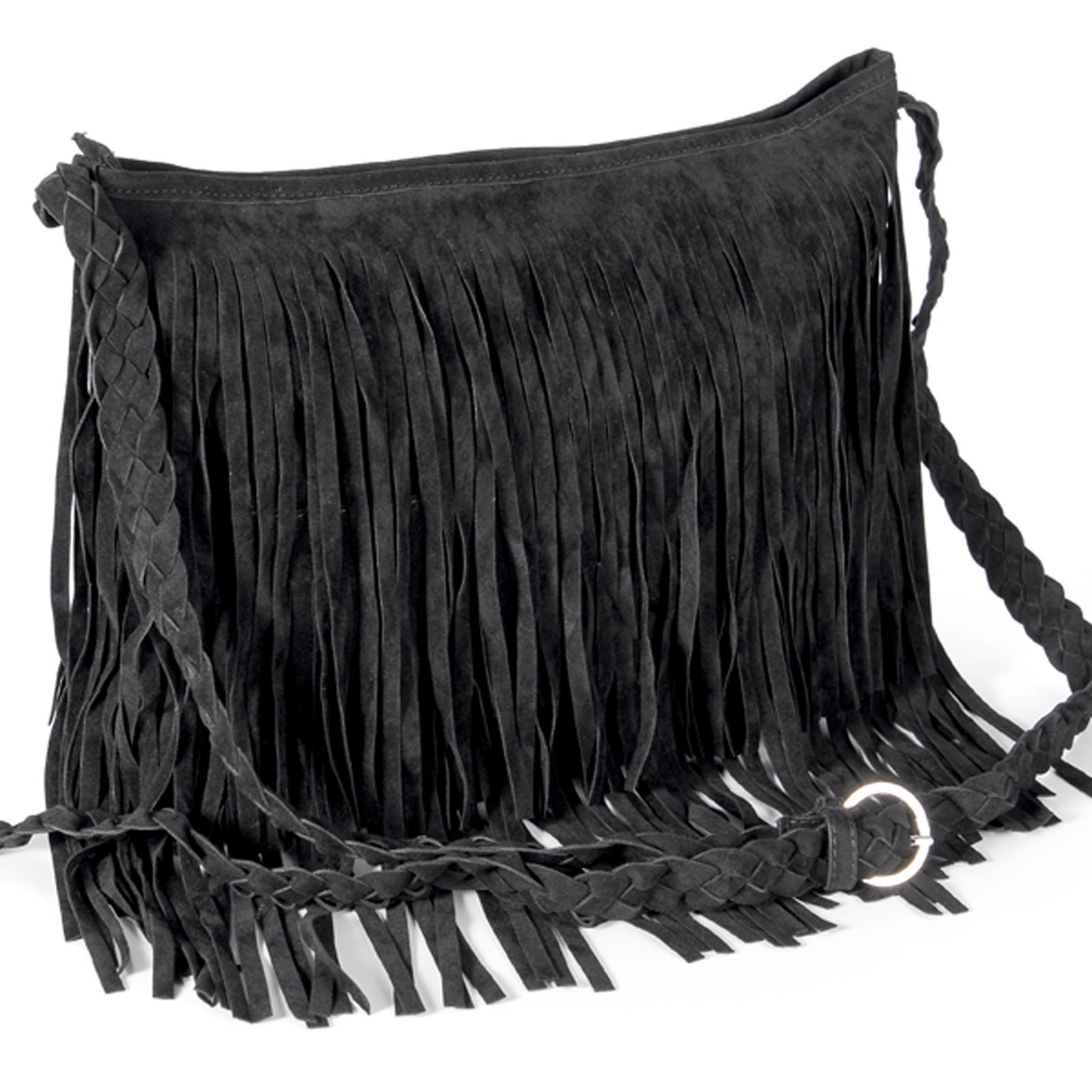 9df78ba0d Bolso de Mujer Bolso Bandolera con Flecos Largos Entrelazado Pana Color  Negro | eBay
