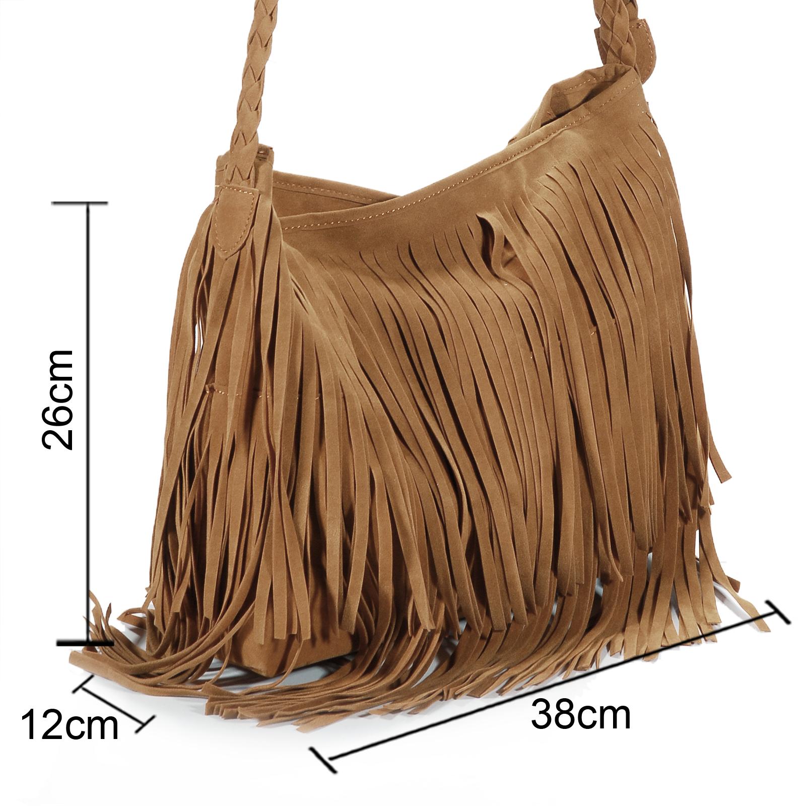 f046ff3e3b Vintage Women's Faux Suede Fringe Tassels Crossbody Bag Shoulder Bag ...