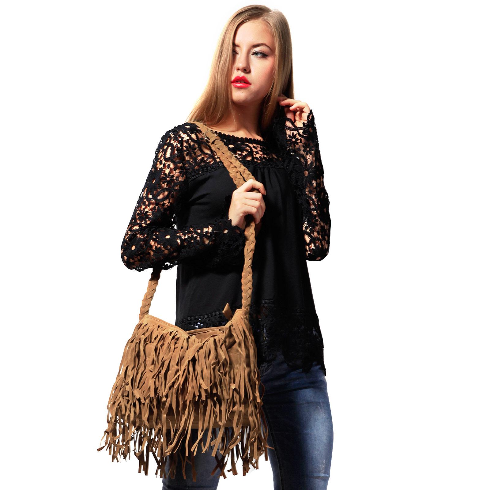 d458dea0b55c Vintage Women s Faux Suede Fringe Tassels Crossbody Bag Shoulder Bag Cross  Body