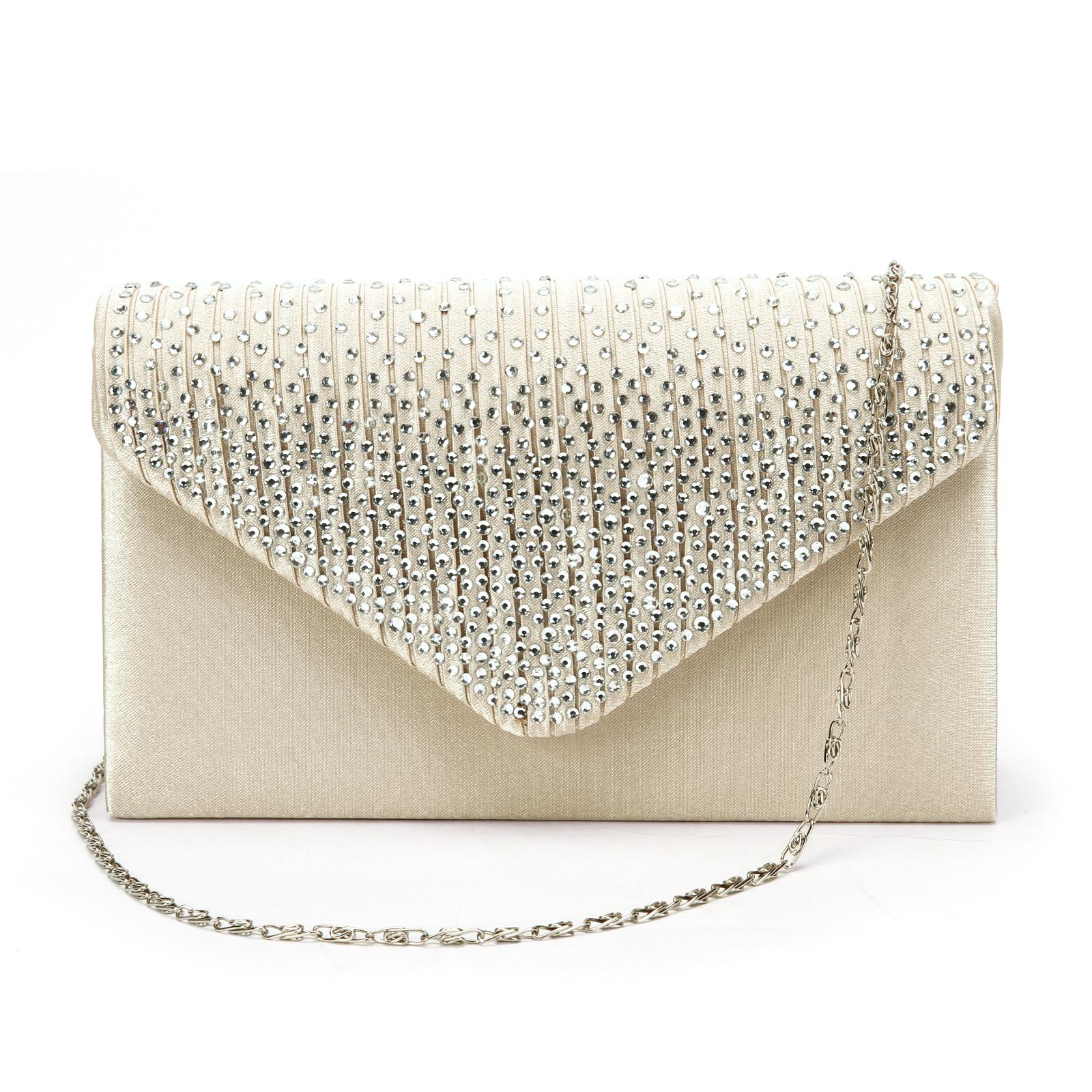 Large Ladies Evening Satin Bridal Diamante Clutch Bag Prom Envelope ...