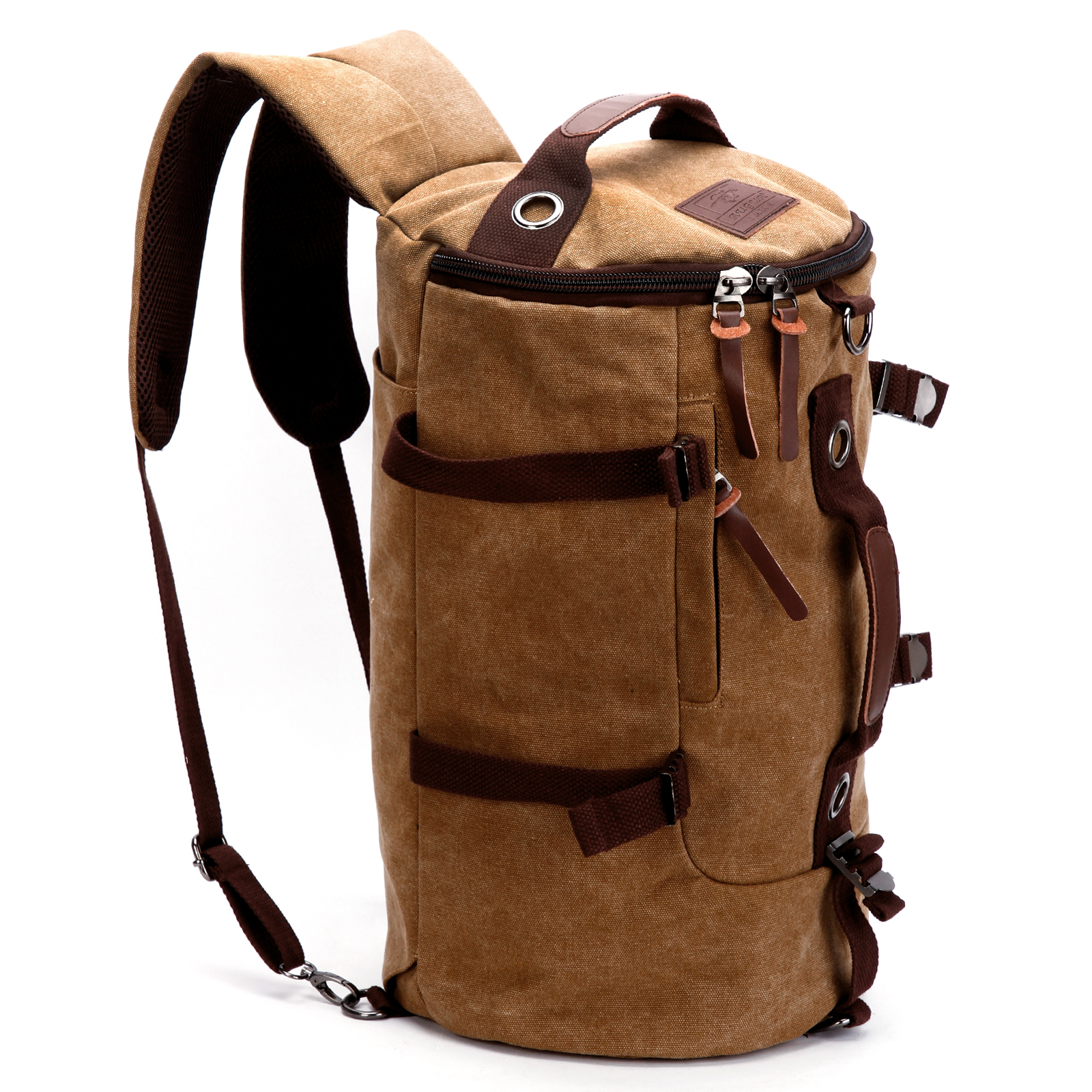 fe2d8d15684ba Vintage Canvas Leder Herren Rucksack Laptop Schulter Reise Wander Camping  Tasche