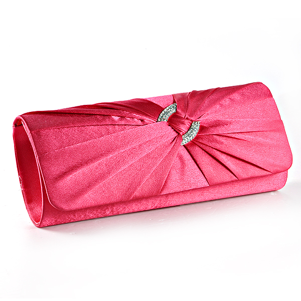105391ba0c2 New Satin Diamante Pleated Evening Clutch Bag Bridal Handbag Prom Purse |  eBay